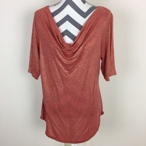 The Limited Rose Gold Drape Neck Blouse Size XL